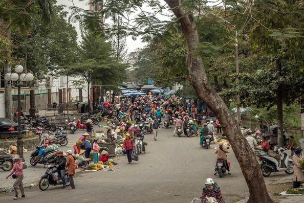 Traditional Vegetable Market in Hue in Vietnam