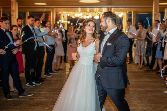 first dance as husband and wife - beautiful bridal couple dancing the first time