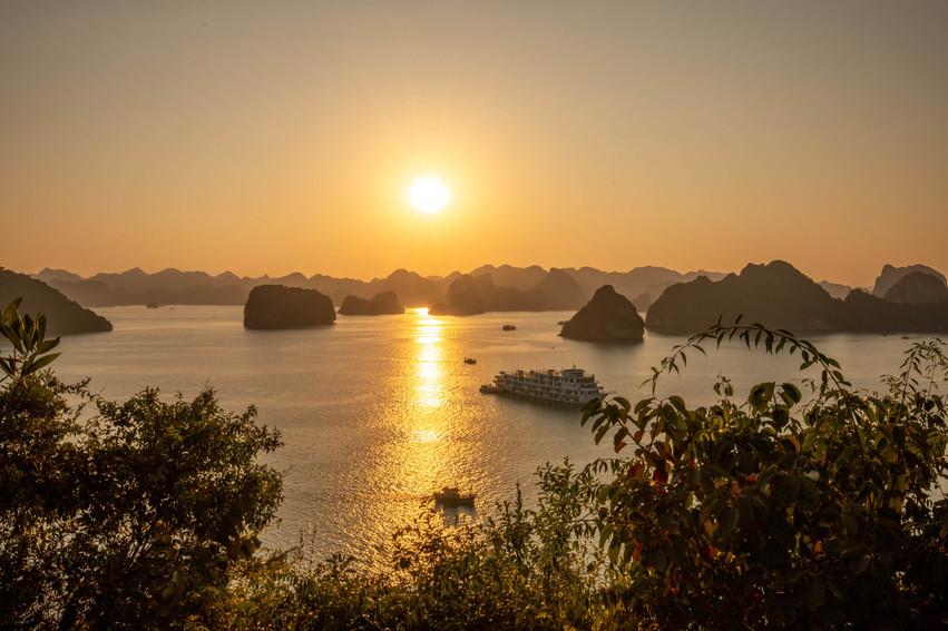 Sunset over the ocean at Ha Long Bay in Vietnam