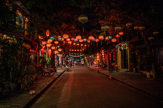 Illumined Lanterns at he old Town from Hoi An in Vietnam