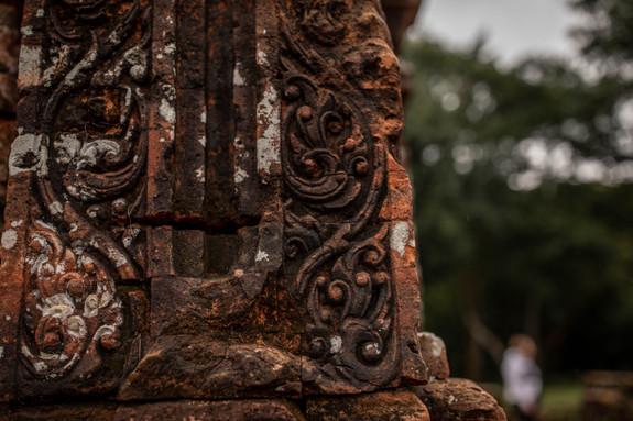 Elaborate carvings at he My Son Sanctuary in Vietnam