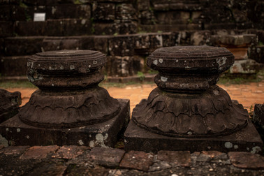 Pillars from the My Son Sanctuary in Hoi An in Vietnam