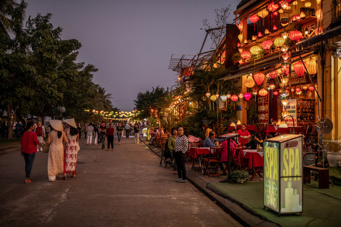 Beautiful illumined old Town in Hoi An in Vietnam
