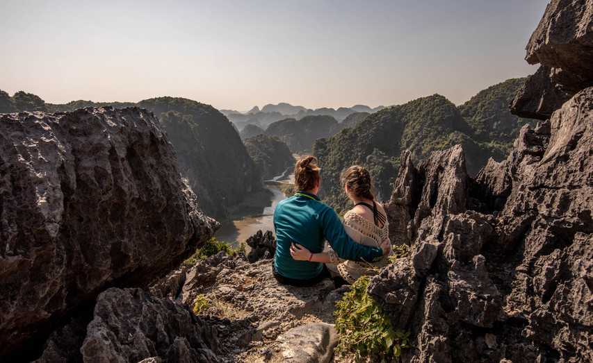 amazing view from the top of the dragon mountain over Ninh Binh in Vietnam