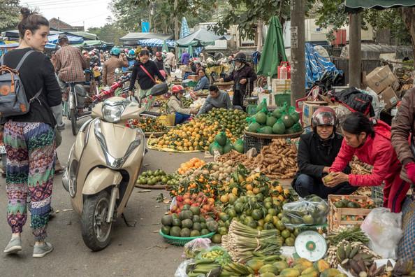 Traditional Fruit Market in Hue in Vietnam