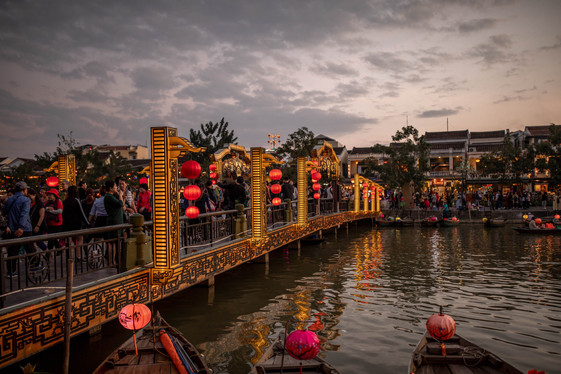 Illumined old Town at the dusk in Hoi An in Vietnam