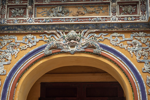 elaborate frets by a citadel in Hue in Vietnam