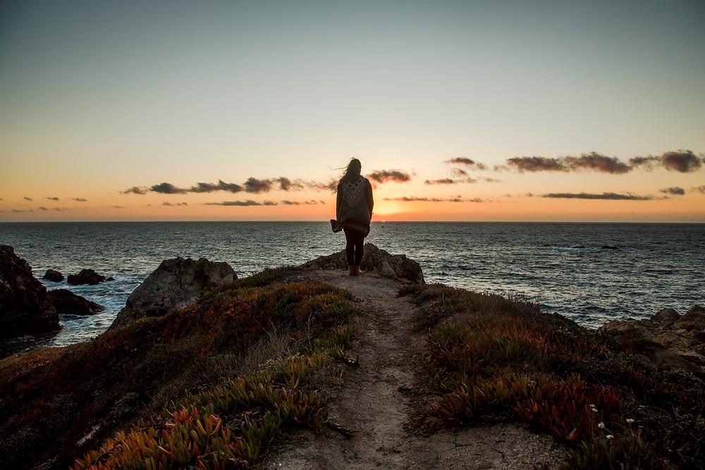 Enjoying a sunset in Bug Sur