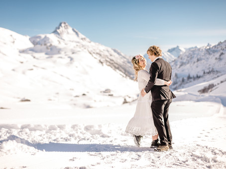 Winter Engagement Photos in the Austrian Alps