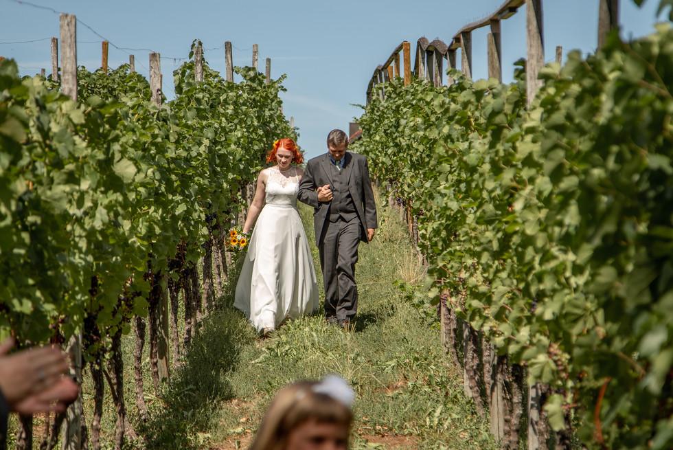 Der Brautvater führt die Braut zur Hochzeit