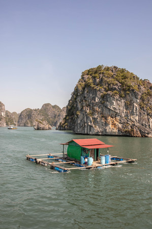 floating house in Ha Long Bay in Vietnam
