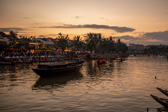 Dusk at the River in Hoi An Vietnam