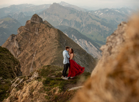 Couple Photos on a Mountain Peak in Vorarlberg
