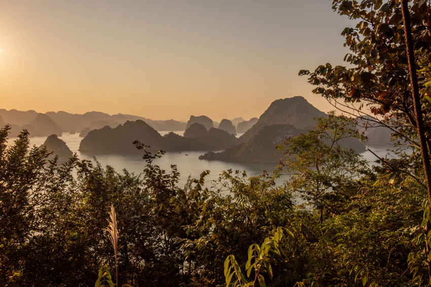 beautiful sunset over the islands of Halong Bay in Vietnam