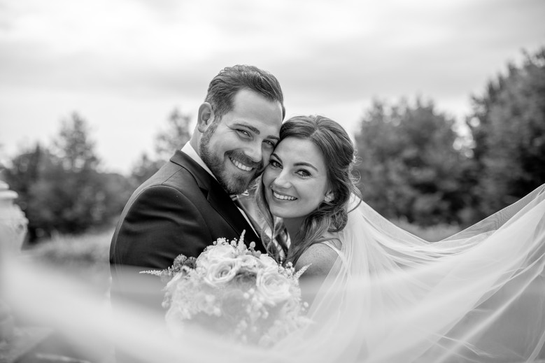 happy couple after wedding in black and white - elegant photos from my wedding