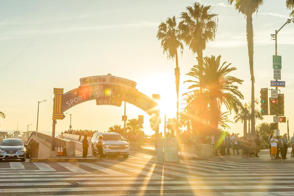 Sunset at Santa Monica in Los Angeles