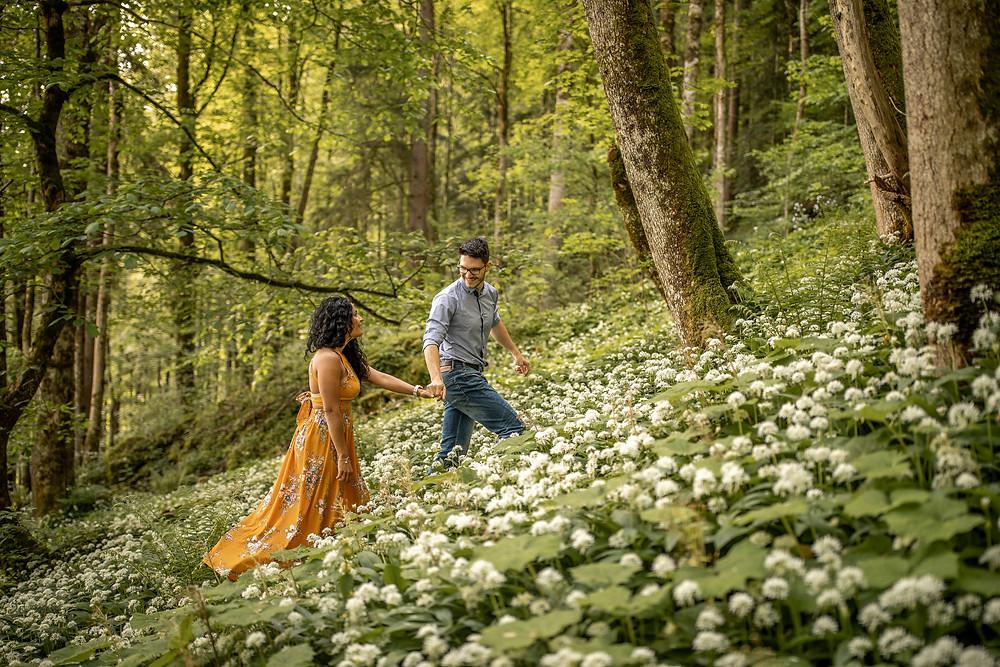 Adventure couple photos in the forest of Vorarlberg, Austria