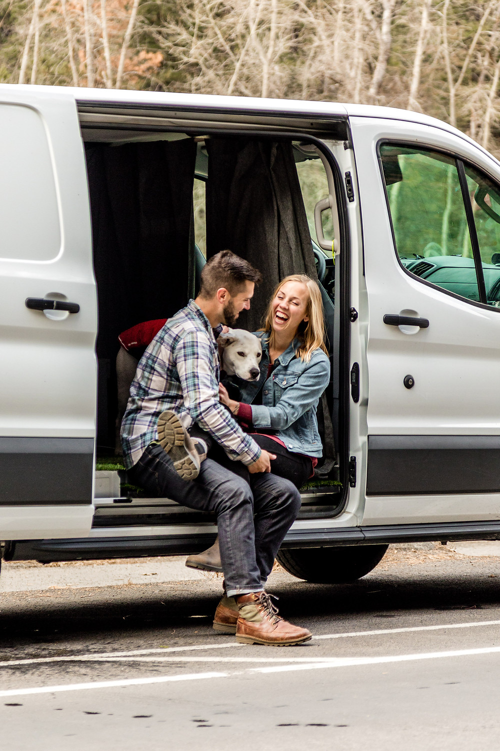 engagement photos with dog and van