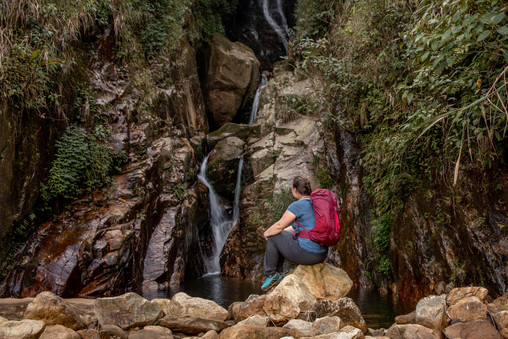 hiking to a beautiful waterfall in Sapa in north Vietnam