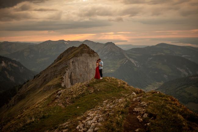 epic sunset engagement photos in Austria
