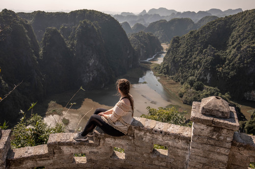 amazing view from the top of the dragon mountain in Ninh Binh Vietnam