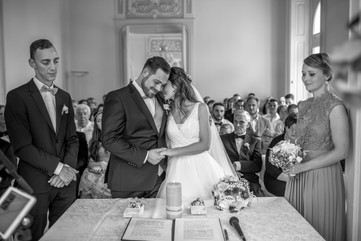 black and white wedding photo - take a moment to realize that you are now married