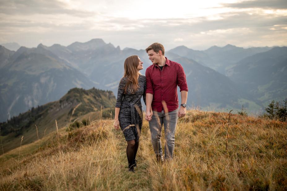 couple in the mountains from bregenzerwald - wedding photographer in vorarlberg