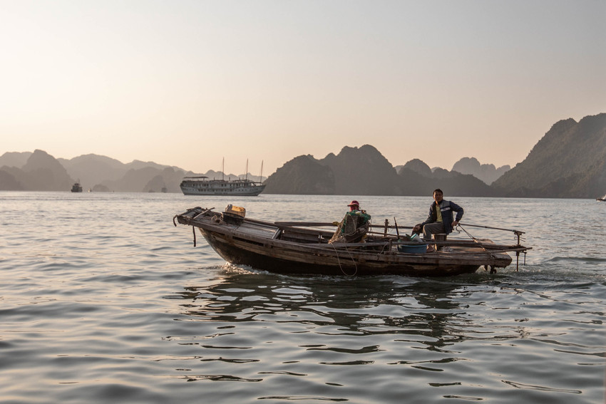 fisherman boat in Ha Long Bay in Vietnam