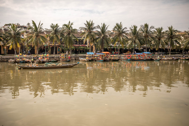 Beautiful old Town at the River in Hoi An in Vietnam