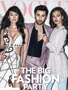 Ranbir kapoor with 2 other actresses on the front of Vogue magazine