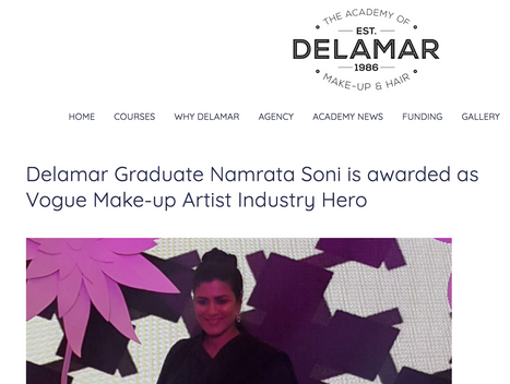 Delemar Graduate Namrata Soni is awarded as Vogue make-up artist industry hero