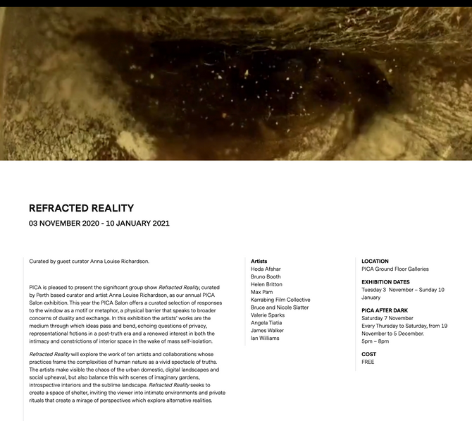 REFRACTED REALITY at PICA, Curated by Anna Louise Richardson 03 NOV- 10 JAN