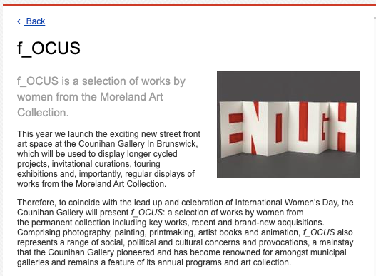 'f_OCUS', works by women from the Moreland Art Collection, Counihan Gallery