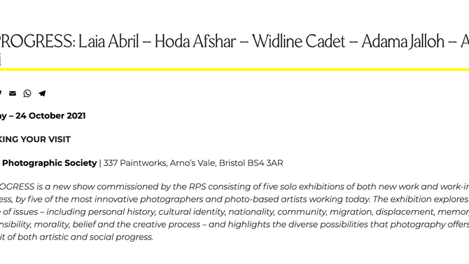 IN PROGRESS: Laia Abril - Hoda Afshar - Widline Cadet - Adama Jalloh - Alba Zari