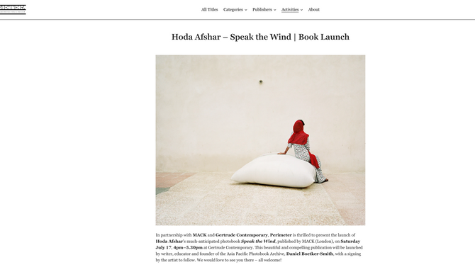Speak the Wind | Melbourne Book Launch by PERIMETER Books at Gertrude Contemporary