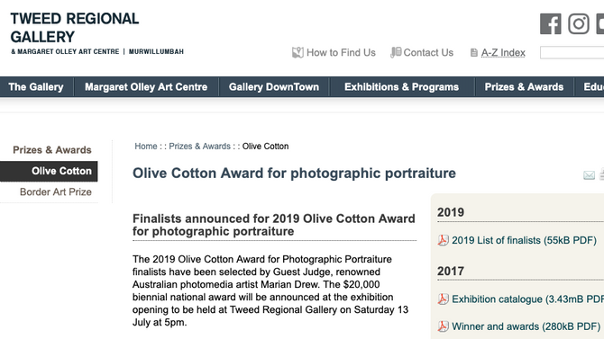 Finalist - Olive Cotton Award for photographic portraiture