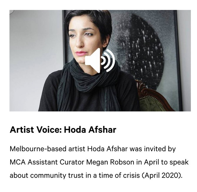 In conversation with Megan Robson for Artist Voice, Museum of Contemporary Art, Sydney