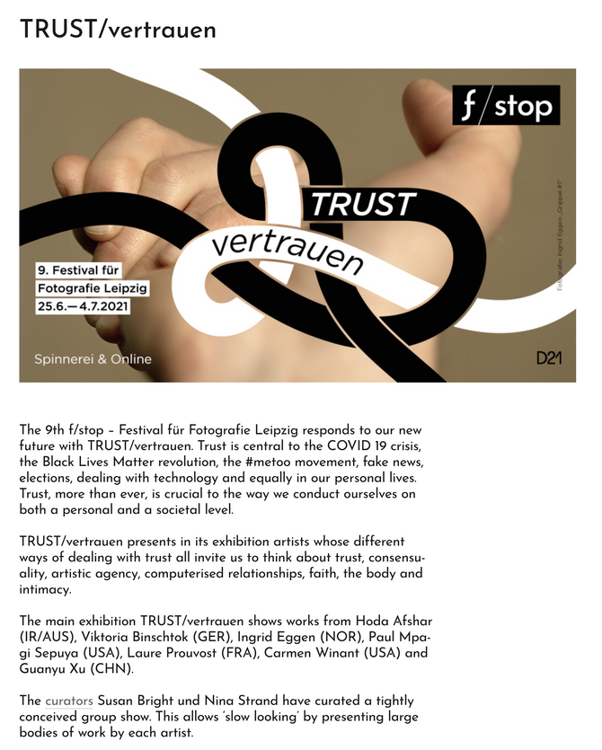 TRUST at f/stop Festival of Photography in Leipzig. Curated by Susan Bright und Nina Strand