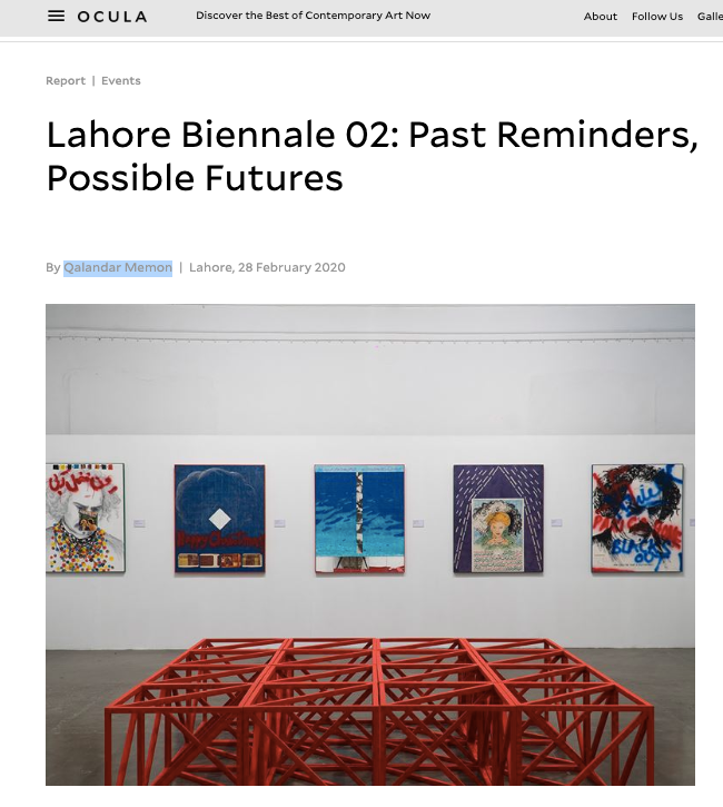 Ocula Magazine, Lahore Biennale 02: Past Reminders, Possible Futures