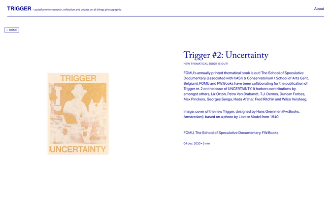 'Agonistes' in Trigger#2: Uncertainty (Guest edited by Max Pinckers & Michiel de Cleene)