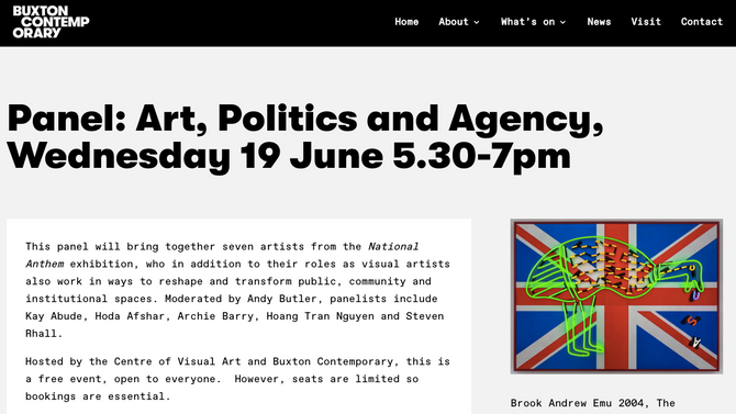 Panel: Art, Politics and Agency at Buxton Contemporary