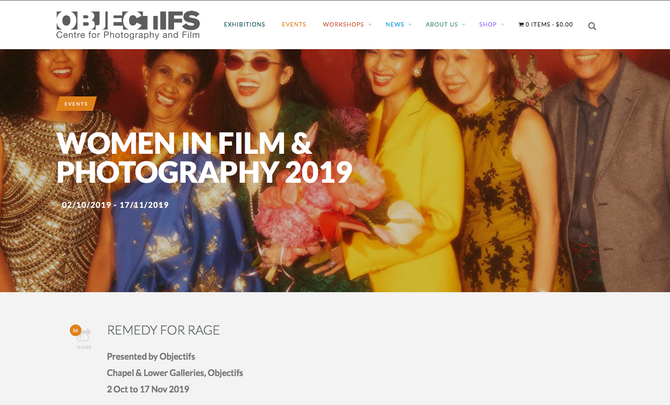 'REMEDY FOR RAGE', Women in Film and Photography at Objectifs in Singapore, 2 Oct to 17 Nov