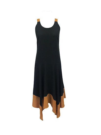 Vestido bicolor pontas