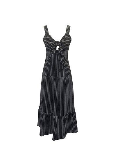 Vestido Listra Amarração Midi