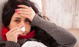 Flu. Closeup image of frustrated sick wo