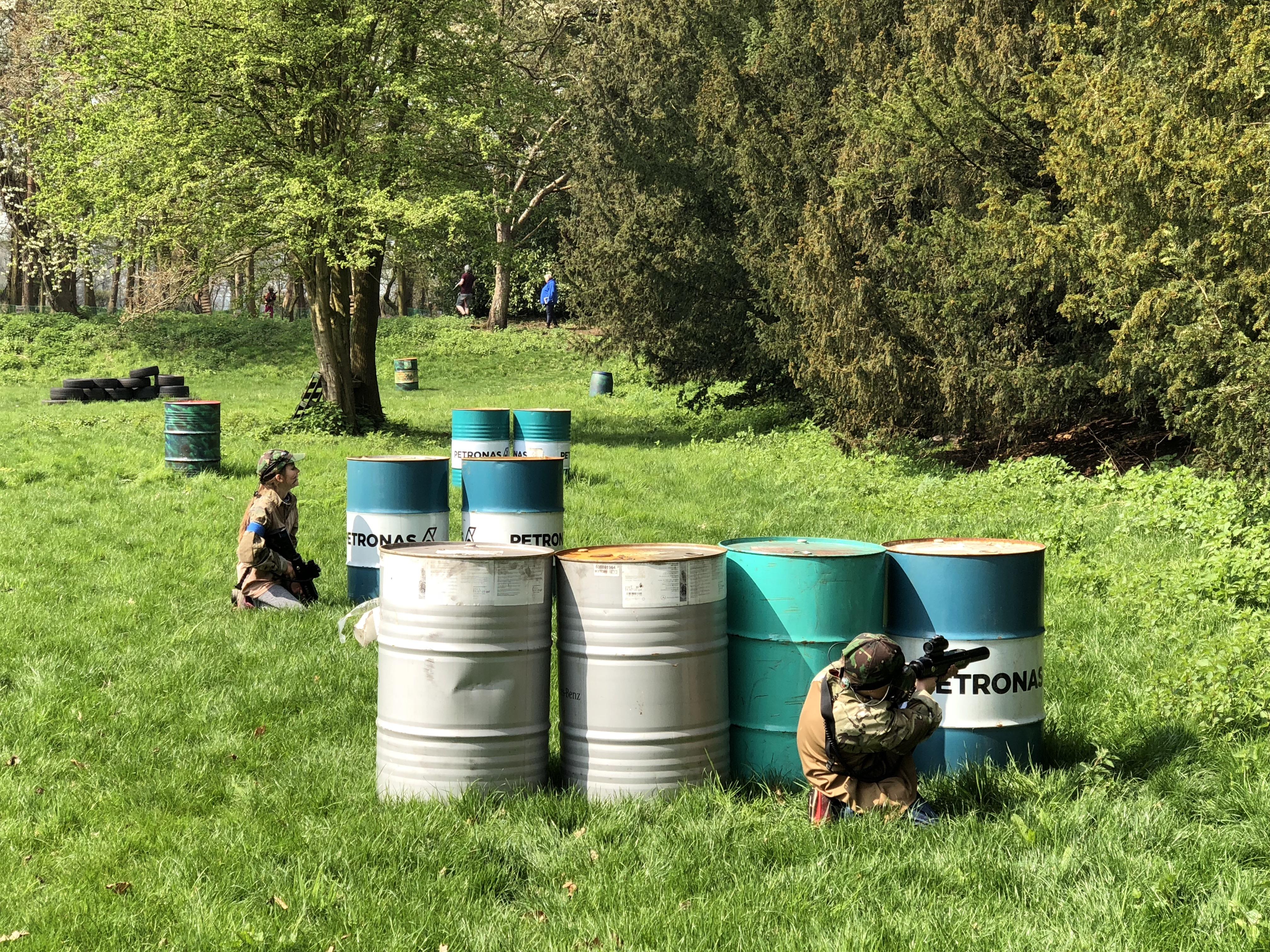 Hide behind the barrels