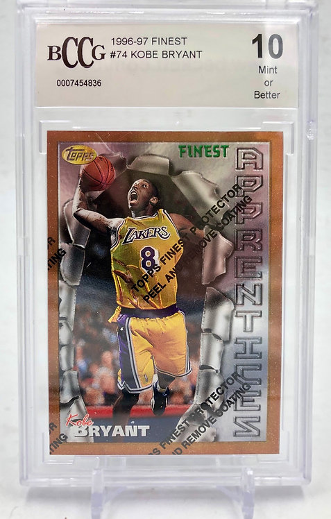 1996-97 Kobe Bryant Topp's Finest Rookie Card Beckett Graded 10