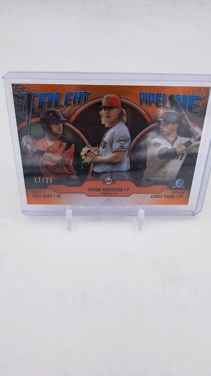 2019 Bowman Chrome Joey Bart Talent Pipeline Orange /25