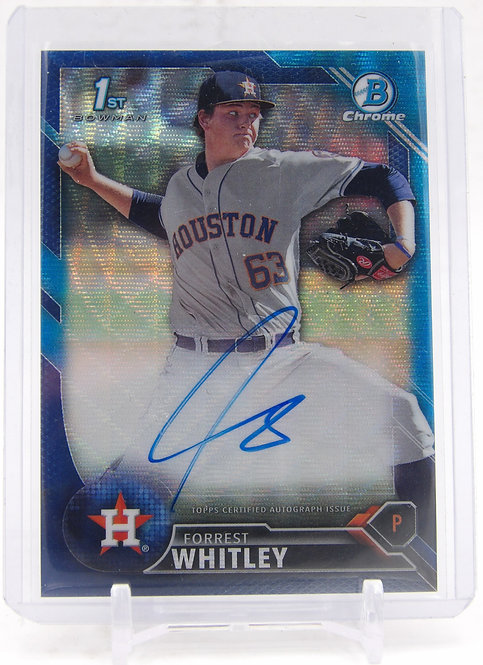 2016 Bowman Chrome Draft Forrest Whitley Blue Shimmer Auto /150