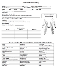 Adolescent Scoliosis Patient Form